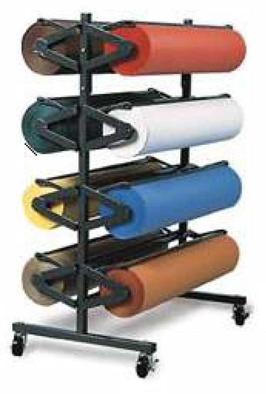 Heavy Duty Vinyl Roll Floor Storage Rack , Metal Iron Tube Vinyl Roll Holder