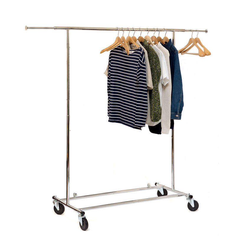 Chrome Metal Clothing Rack On Wheels / Extendable Rods Portable Metal Clothes Rack