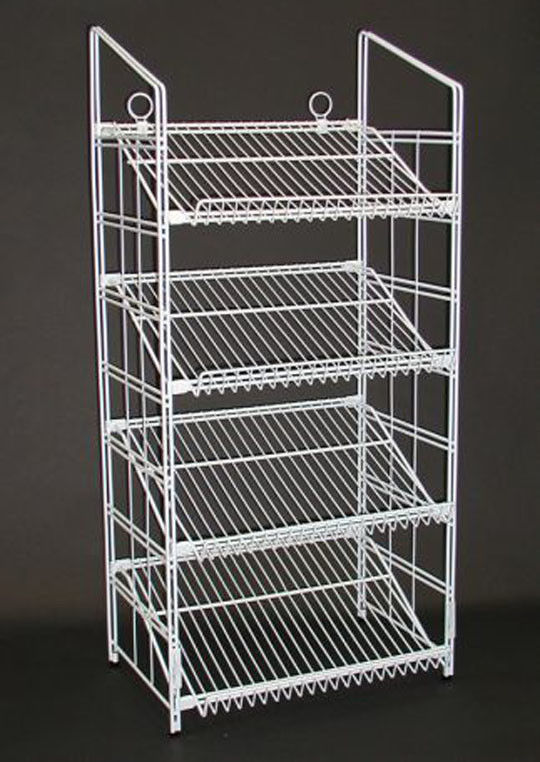 Supermarket Metal Wire Display Stands / Mulitple Shelf Wire Rack Display Stands